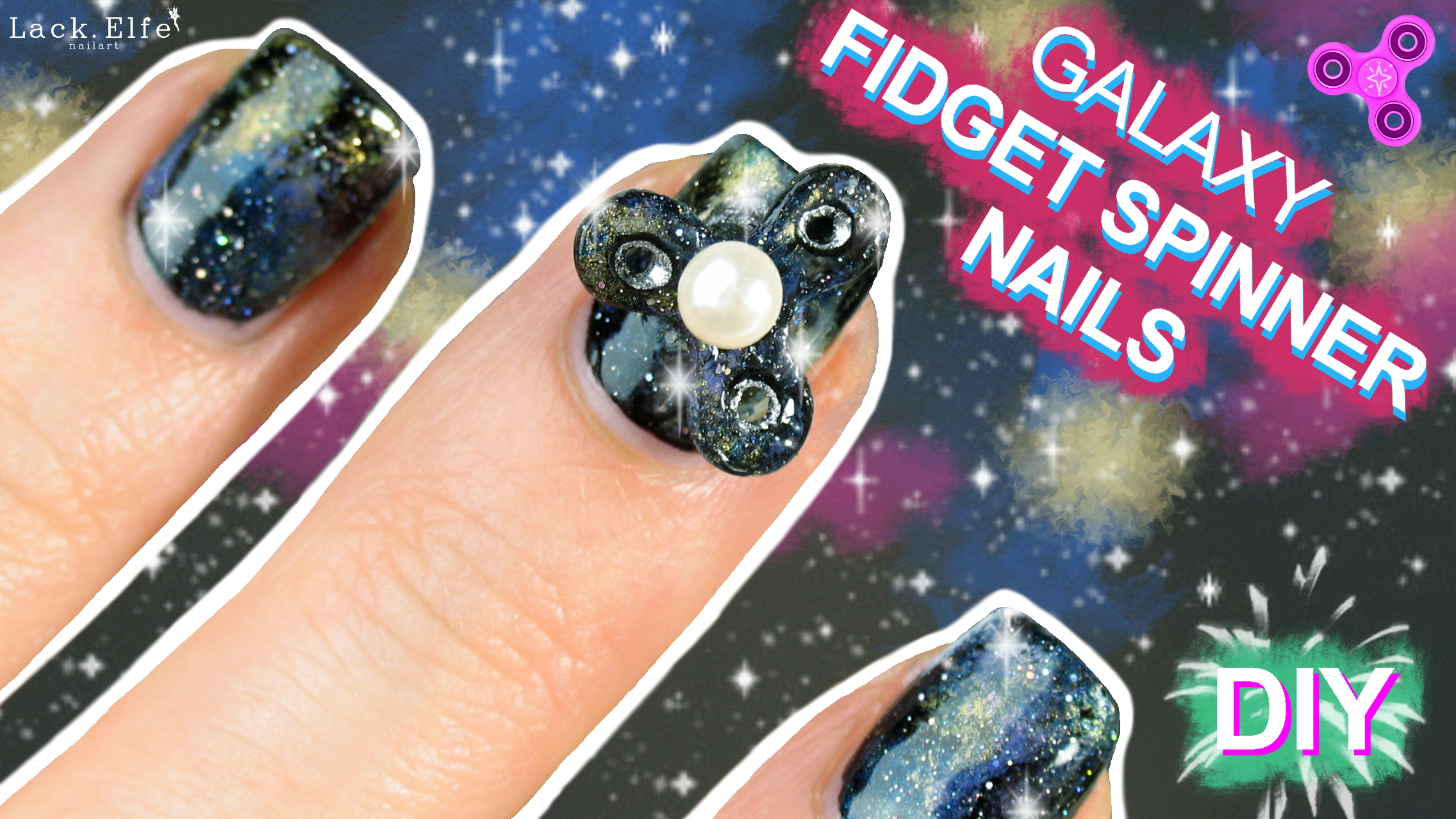 DIY Galaxy Fidget Spinner Nails | Tutorial | lackelfe.de